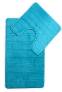 MEMORY FOAM LUXURY SUPER SOFT NON SLIP BATH MAT & PEDESTAL SET AQUA COLOUR